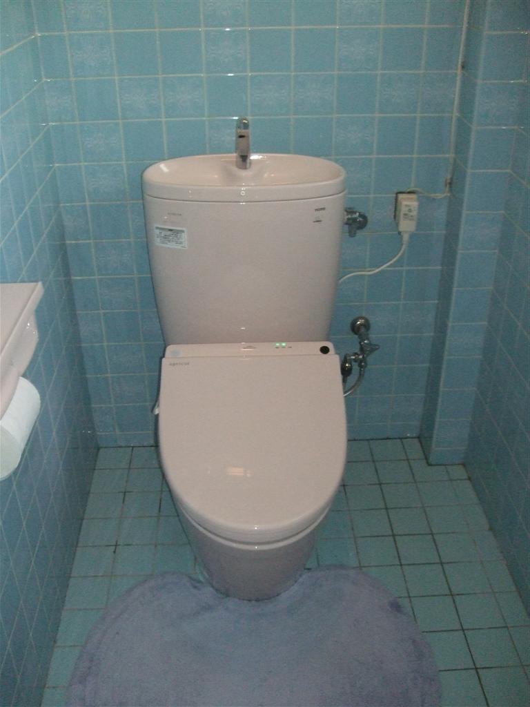 中は全てタイル!トイレ取替え+手すり