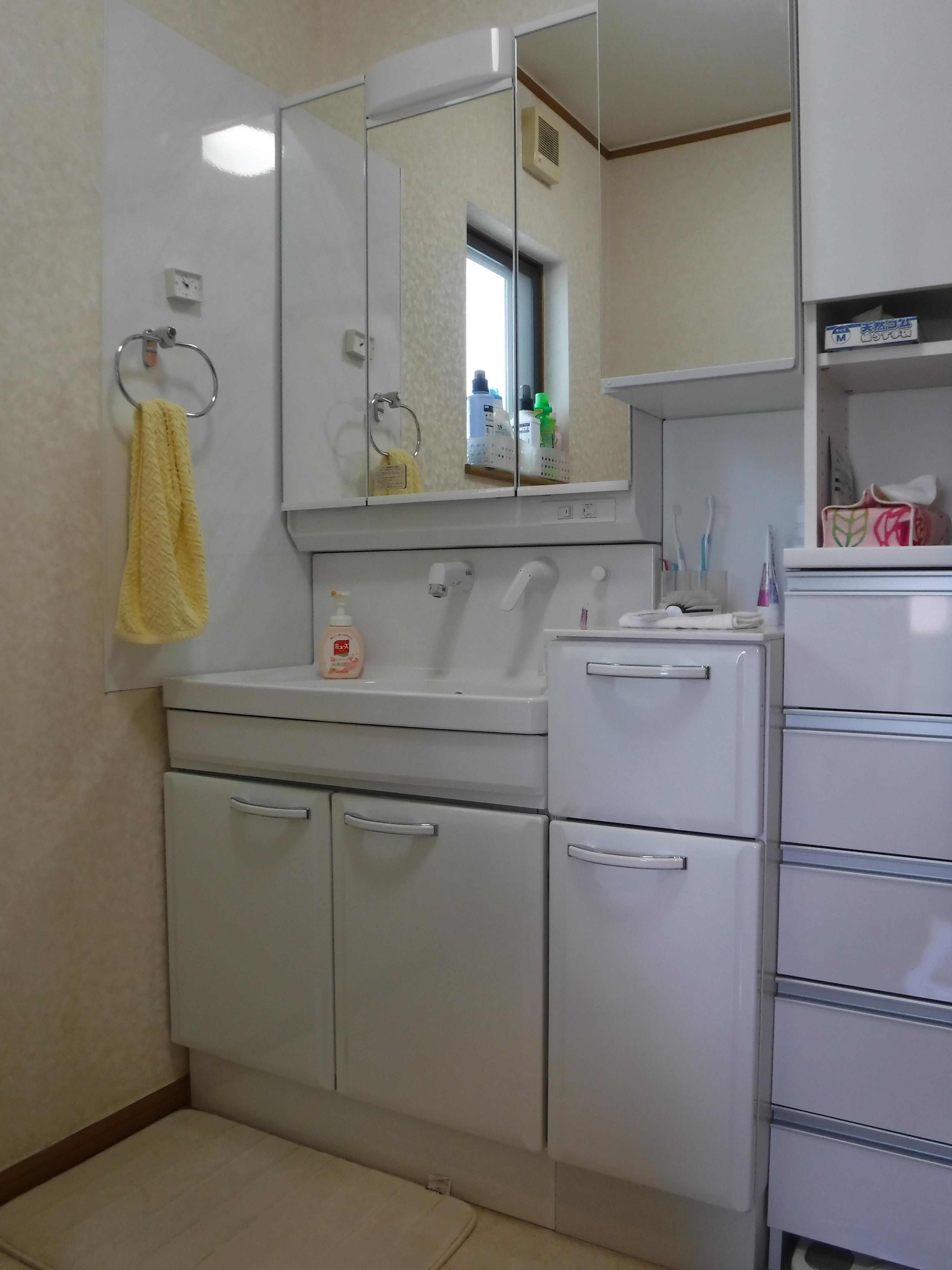洗面化粧台と収納だけを取替えました。