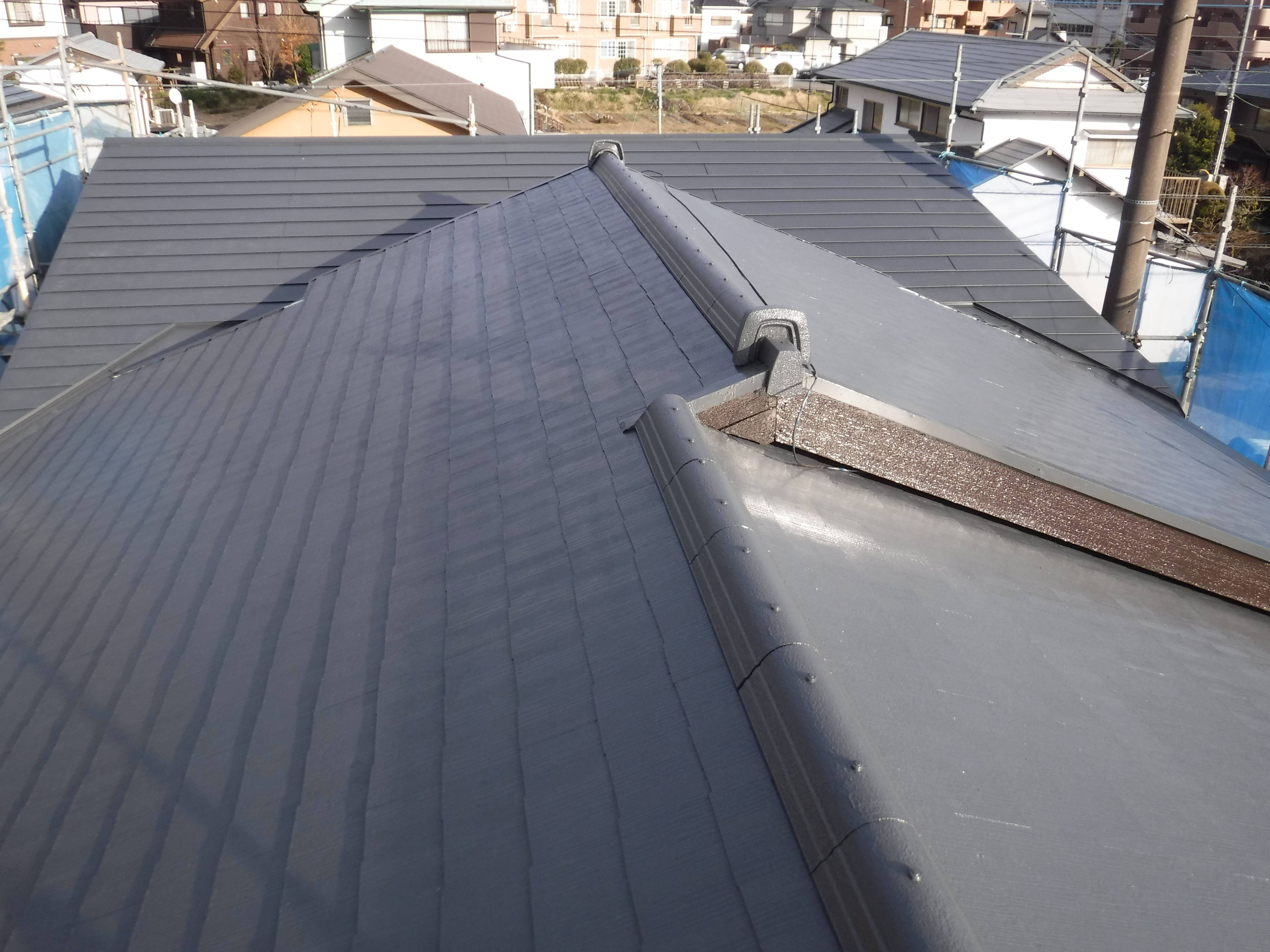 工場外装補修工事 コロニアル屋根塗装