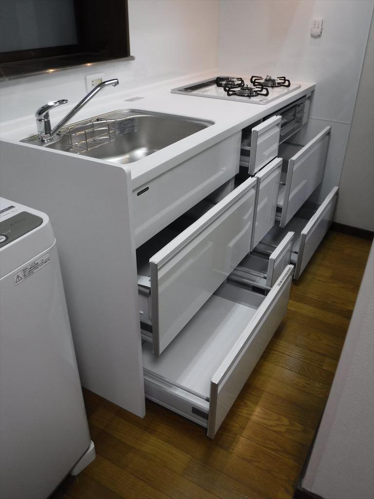 洗濯機をキッチンの隣に並べるしか・・・!本体 スライド収納